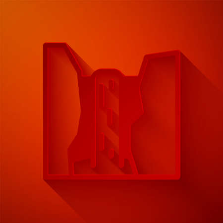 Paper cut Algar waterfall icon isolated on red background. Region Alicante. Spain. Paper art style. Vector