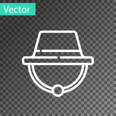 White line Camping hat icon isolated on transparent background. Beach hat panama. Explorer travelers hat for hunting, hiking, tourism. Vector Illustration
