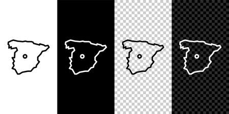 Set line Map of Spain icon isolated on black and white background. Vector