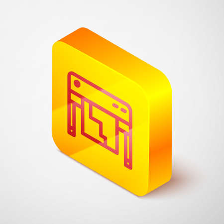 Isometric line Plotter icon isolated on grey background. Large format multifunction printer. Polygraphy, printshop service. Yellow square button. Vector
