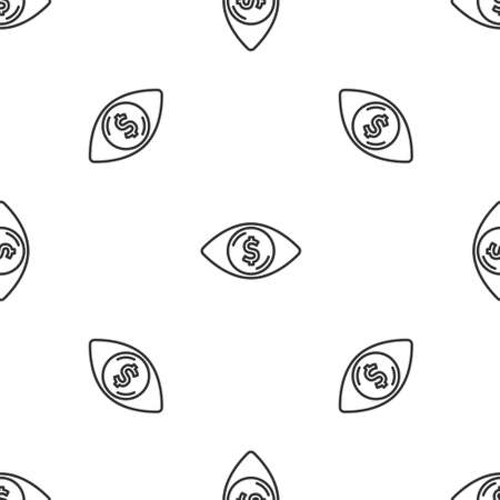 Grey line Eye with dollar icon isolated seamless pattern on white background. Vector Ilustración de vector