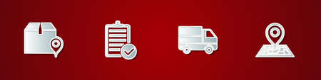 Set Location with cardboard box, Verification of delivery list, Delivery truck boxes and Placeholder map icon. Vector