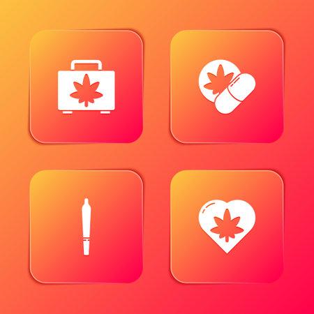 Set Shopping box of marijuana, Herbal ecstasy tablets, Marijuana joint and leaf heart icon. Vector