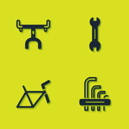 Set Bicycle handlebar, Tool allen keys, frame and Wrench spanner icon. Vector