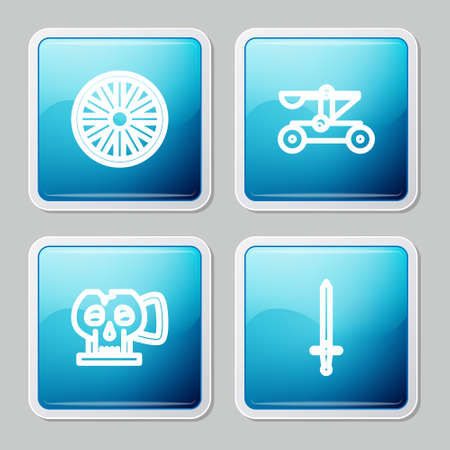 Set line Old wooden wheel, Catapult shooting stones, Cup from the skull and Medieval sword icon. Vector