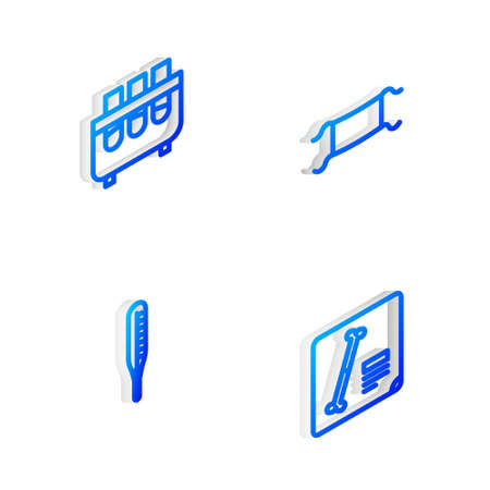 Set Isometric line Medical protective mask, Test tube and flask, thermometer and X-ray shots icon. Vector Illustration