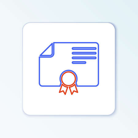 Line Certificate template icon isolated on white background. Achievement, award, degree, grant, diploma. Business success certificate. Colorful outline concept. Vector