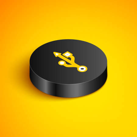 Isometric line USB symbol icon isolated on yellow background. Black circle button. Vector