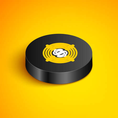 Isometric line Target with dollar symbol icon isolated on yellow background. Investment target. Successful business concept. Cash or Money sign. Black circle button. Vector