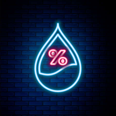 Glowing neon line Water drop percentage icon isolated on brick wall background. Humidity analysis. Colorful outline concept. Vector