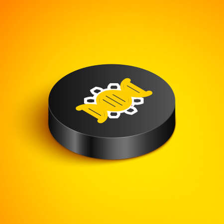 Isometric line Genetic engineering icon isolated on yellow background. DNA analysis, genetics testing, cloning, paternity testing. Black circle button. Vector
