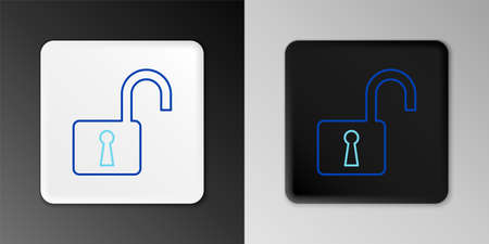 Line Open padlock icon isolated on grey background. Opened lock sign. Cyber security concept. Digital data protection. Safety safety. Colorful outline concept. Vector