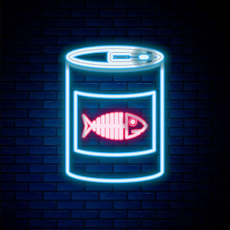 Glowing neon line Canned food for cat icon isolated on brick wall background. Fish skeleton sign. Food for animals. Pet dog food can. Colorful outline concept. Vector