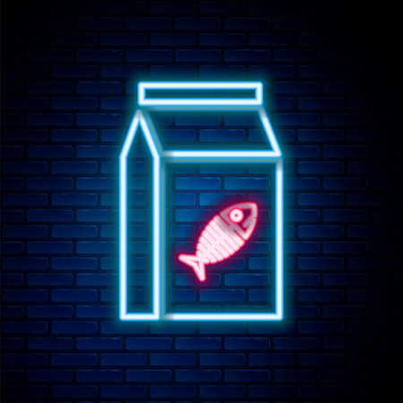 Glowing neon line Bag of food for cat icon isolated on brick wall background. Fish skeleton sign. Food for animals. Pet food package. Colorful outline concept. Vector