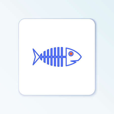 Line Fish skeleton icon isolated on white background. Fish bone sign. Colorful outline concept. Vector Illustration