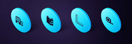 Set Isometric Roulette construction, Folding ruler, Audio book and Hotel building icon. Vector Ilustracja