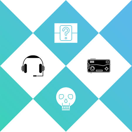 Set Headphones, Skull, Mystery or random box and Mobile playing in game icon. Vector