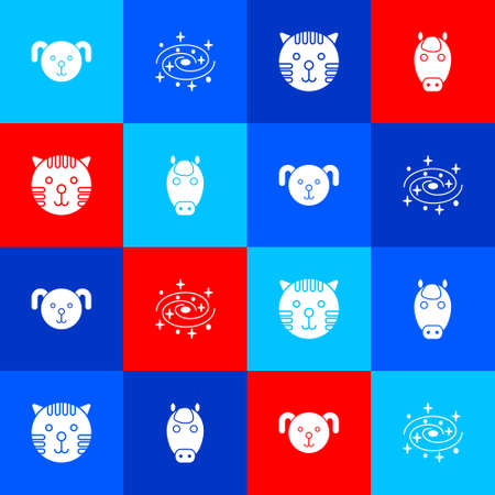 Set Dog zodiac, Milky way spiral galaxy, Tiger and Horse icon. Vector