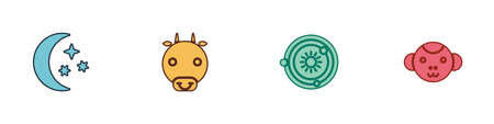 Set Moon and stars, Ox zodiac, Solar system and Monkey icon. Vector