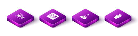 Set Isometric Blood pressure, X-ray shots, Test tube and flask and Medical rubber gloves icon. Vector