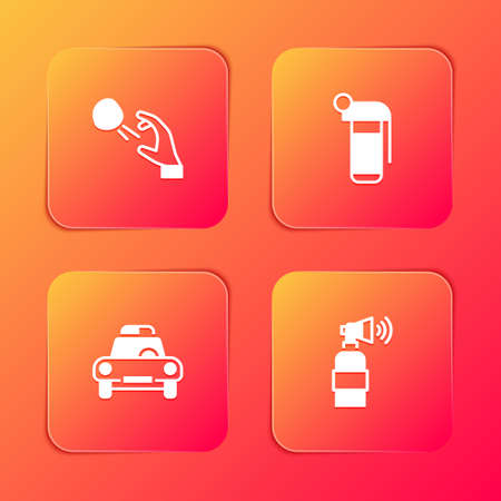 Set Hooligan shooting stones, Hand grenade, Police car flasher and Air horn icon. Vector