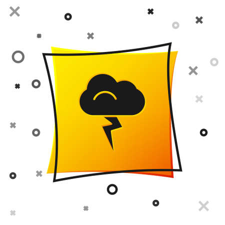 Black Storm icon isolated on white background. Cloud and lightning sign. Weather icon of storm. Yellow square button. Vector Illustration