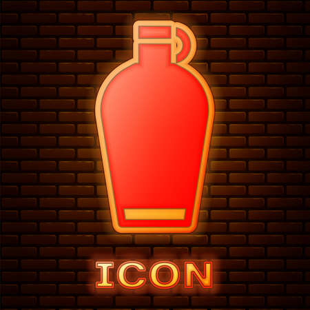 Glowing neon Canteen water bottle icon isolated on brick wall background. Tourist flask icon. Jar of water use in the campaign. Vector