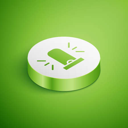 Isometric Flasher siren icon isolated on green background. Emergency flashing siren. White circle button. Vector