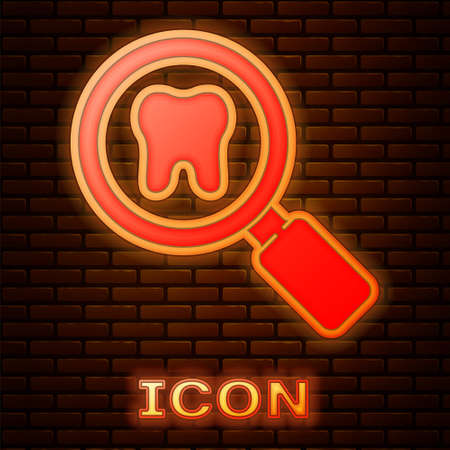 Glowing neon Dental search icon isolated on brick wall background. Tooth symbol for dentistry clinic or dentist medical center. Vector
