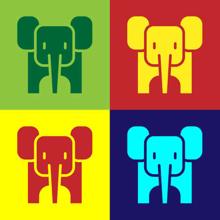 Pop art Elephant icon isolated on color background. Vector Çizim