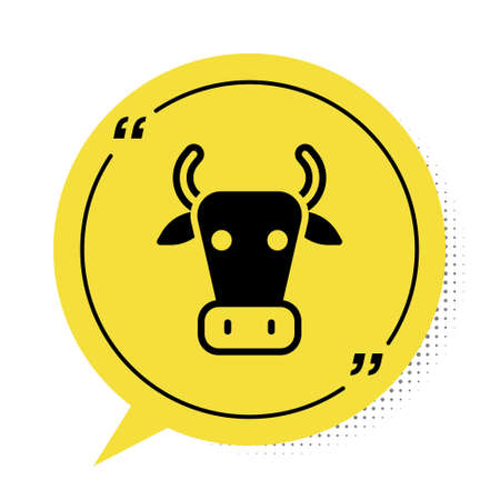 Black Cow icon isolated on white background. Yellow speech bubble symbol. Vector Çizim