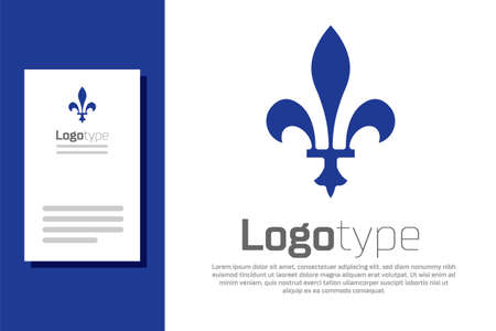 Blue Fleur De Lys icon isolated on white background. Logo design template element. Vector Ilustracja