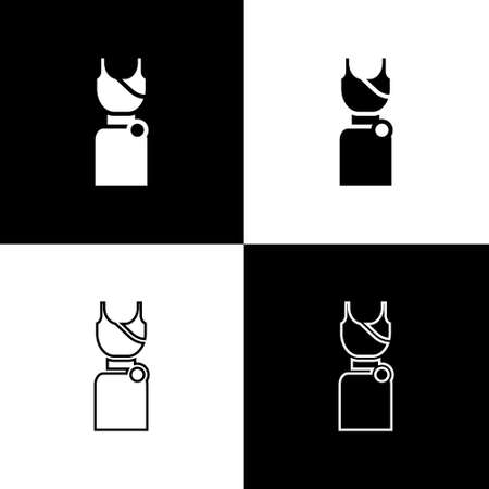 Set Woman dress icon isolated on black and white background. Clothes sign. Vector