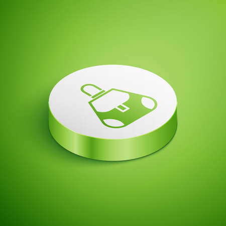 Isometric Handbag icon isolated on green background. Female handbag sign. Glamour casual baggage symbol. White circle button. Vector
