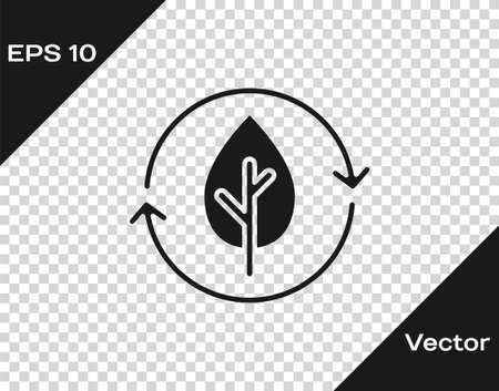 Black Recycle symbol and leaf icon isolated on transparent background. Environment recyclable go green. Vector Ilustracja