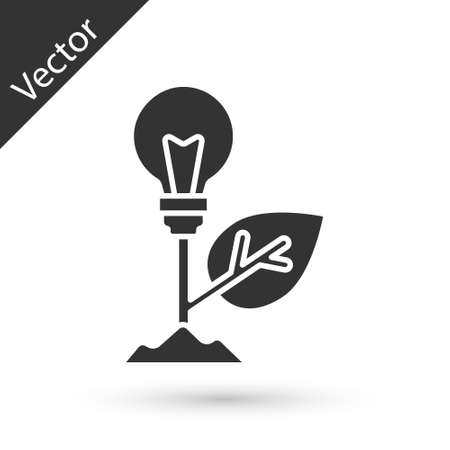 Grey Light bulb with leaf icon isolated on white background. Eco energy concept. Alternative energy concept. Vector Ilustracja
