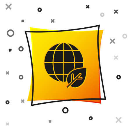 Black Earth globe and leaf icon isolated on white background. World or Earth sign. Geometric shapes. Environmental concept. Yellow square button. Vector