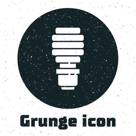 Grunge LED light bulb icon isolated on white background. Economical LED illuminated lightbulb. Save energy lamp. Monochrome vintage drawing. Vector Ilustracja