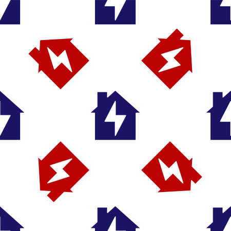 Blue and red House and lightning icon isolated seamless pattern on white background. Home energy. Vector