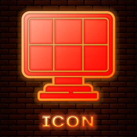 Glowing neon Solar energy panel icon isolated on brick wall background. Vector