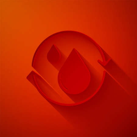 Paper cut Recycle clean aqua icon isolated on red background. Drop of water with sign recycling. Paper art style. Vector