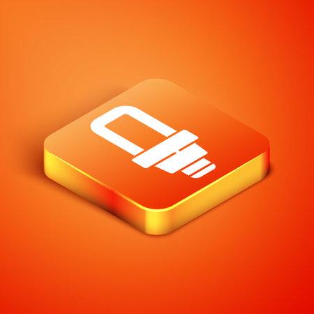 Isometric LED light bulb icon isolated on orange background. Economical LED illuminated lightbulb. Save energy lamp. Vector