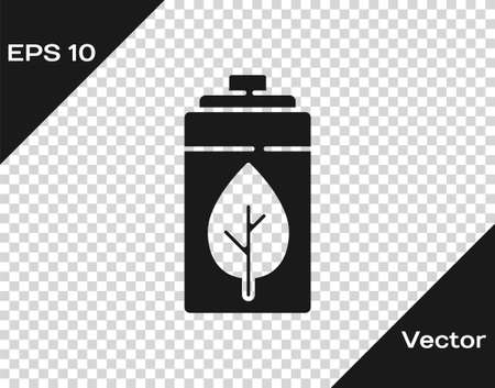 Black Eco nature leaf and battery icon isolated on transparent background. Energy based on ecology saving concept. Vector