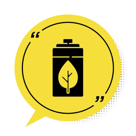 Black Eco nature leaf and battery icon isolated on white background. Energy based on ecology saving concept. Yellow speech bubble symbol. Vector