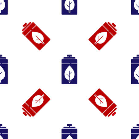 Blue and red Eco nature leaf and battery icon isolated seamless pattern on white background. Energy based on ecology saving concept. Vector Ilustracja