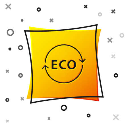Black Banner, label, tag for eco green healthy food icon isolated on white background. Organic product. Healthy food sticker. Yellow square button. Vector
