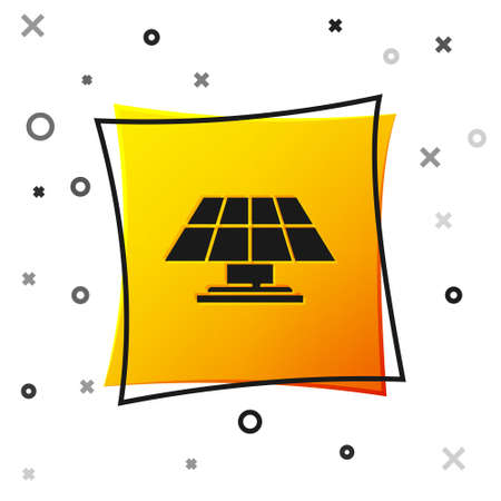 Black Solar energy panel icon isolated on white background. Yellow square button. Vector Ilustracja