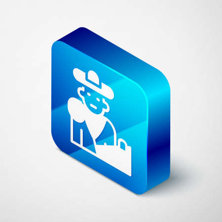 Isometric Spain bullfight, matador icon isolated on grey background. Traditional Spanish entertainment. Blue square button. Vector