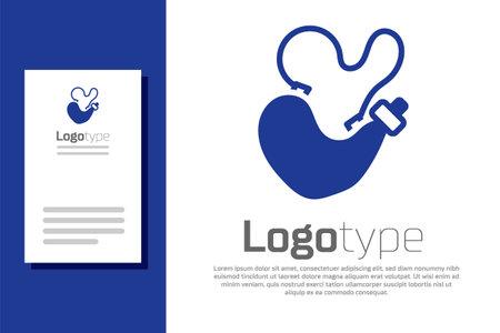 Blue Spanish wineskin icon isolated on white background. Logo design template element. Vector