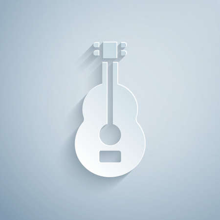 Paper cut Spanish guitar icon isolated on grey background. Acoustic guitar. String musical instrument. Paper art style. Vector